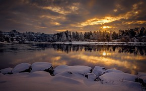 Picture winter, snow, trees, landscape, sunset, nature, the city, lake, Norway, Hønefoss, Hønefoss