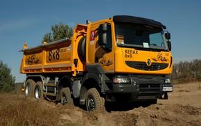 Picture orange, earth, truck, Renault, 8x8, dump truck, four-axle, Renault Trucks, Kerax
