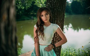 Picture look, water, girl, trees, pose, skirt, hairstyle, Sasha Rusko, Anna Carpenter