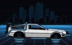 Picture Auto, Figure, Music, Machine, Style, Background, Car, DeLorean DMC-12, Art, 80s, Style, DeLorean, DMC-12, Neon, …