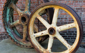 Picture wall, rust, wheel