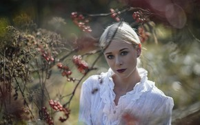 Picture look, leaves, girl, branches, nature, face, berries, woman, portrait, blur, fruit, blonde, white clothes, interesting …
