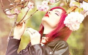 Picture girl, flowers, singer, visual kei, colored hair, girl on the nature, Felissa Beliol, The Felisa …