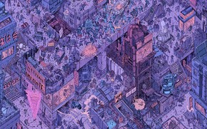 Picture The city, Robots, People, Fantasy, Art, Robot, Robots, The view from the top, Sci-Fi, Cyberpunk, ...
