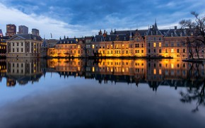Picture pond, reflection, the evening, Netherlands, The Hague, Hofvijver