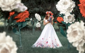 Picture girl, flowers, pose, dress, beautiful, wreath, Renat Fotov