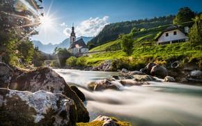 Picture bridge, river, stones, Germany, Bayern, Church, Germany, Bavaria, Bavarian Alps, The Bavarian Alps, Ramsau, Ramsau, ...