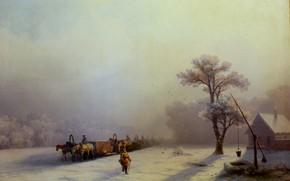 Picture landscape, picture, Ivan Aivazovsky, Winter Train Journey