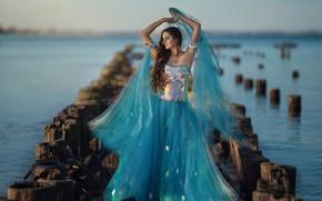 Picture look, water, girl, river, dress, bokeh, Ragan Sylwia