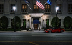 Picture Red, Auto, Night, The city, Machine, The building, Supercar, Rendering, Sports car, Red, Transport & …