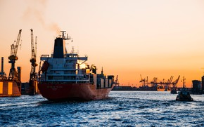 Picture Sunset, The evening, Port, The ship, Tug, The refrigerator, Container Ship, Charles Island, Reefer, M/V …