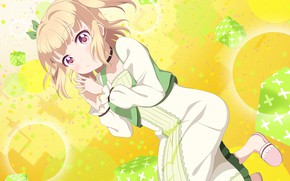 Picture look, anime, girl, yellow background, Love Live School Idol Project, Living love