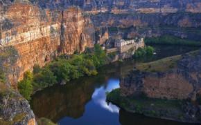 Picture river, gorge, Spain, Дуратон, Nuestra Señora de la Hoz