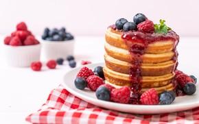 Picture berries, raspberry, blueberries, pancakes, berries, pancakes, pancake