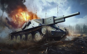 Picture the explosion, fire, tank, the trunks of the trees, War Thunder