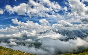 Picture the sky, the sun, clouds, mountains, rocks, height, panorama, Spain, the view from the top, …