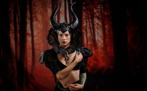 Picture forest, girl, style, Gothic, woman, portrait, dress, the demon, neckline, horns, image, witch, hotesse, the …