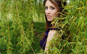 Picture girl, sexy, blouse, long hair, blue eyes, beautiful, model, pretty, garden, face, brunette, attractive, handsome