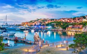Picture sea, the evening, port, boat, Italy, Porto Cervo, Sardinia, Porto Cervo