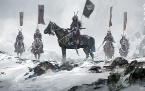 Picture winter, snow, Asia, Japan, warriors, riders, banners, samurai, warlords, David Benzal, Asia Legends