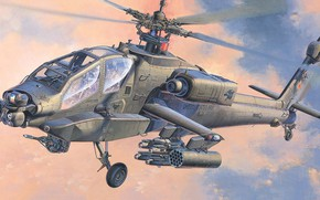 Picture USA, US Army, attack helicopter, AH-64A Apache, Koike Shigeo