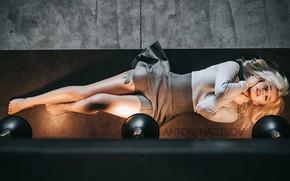 Picture girl, pose, lamp, feet, skirt, tattoo, Anton Kharisov, Catherine Timonov
