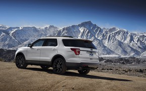 Picture road, white, snow, mountains, tops, Ford, Sport, SUV, Explorer, 2017, XLT