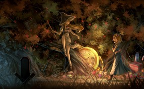 Picture fantasy, game, forest, trees, hat, anime, night, artwork, Touhou, gifts, clock, fantasy art, witch, Kirisame …
