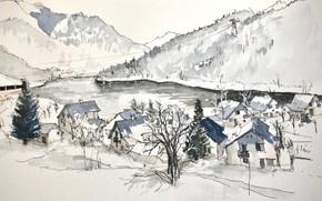 Picture landscape, figure, France, watercolor, Vaujany