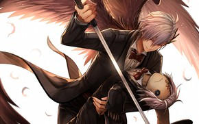Picture look, angel, sword, doll, anime, art, guy, Scarecrow
