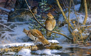 Picture winter, snow, birds, branches, nature, pose, shore, figure, picture, spring, art, three, log, painting, pond, …