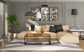 Wallpaper design, style, sofa, lamp, interior, pillow, hi-tech