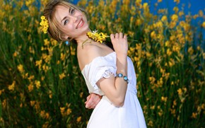 Picture flowers, nature, smile, earrings, makeup, dress, bracelet, Tiara