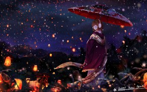 Wallpaper winter, snow, night, umbrella, Japan, scarf, girl, Cape, the red lanterns, half a turn, torii ...