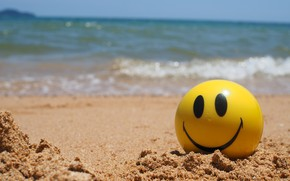 Wallpaper sand, sea, wave, beach, summer, yellow, the ball, smile, summer, happy, beach, sea, smile, seascape, ...