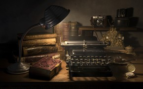 Picture books, glasses, typewriter