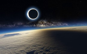 Picture Space, Earth, Eclipse, Milky Way
