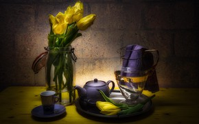 Picture glass, light, flowers, table, wall, tea, towel, bouquet, yellow, kettle, the tea party, Bank, tulips, …