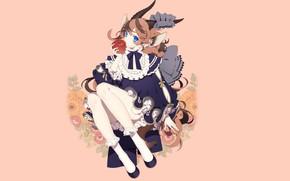 Picture look, flowers, fantasy, Apple, minimalism, girl, horns