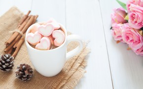 Picture roses, bouquet, Cup, hearts, wood, pink, cup, romantic, hearts, valentine's day, cocoa, roses, hot chocolate, ...