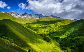 Picture the sky, clouds, mountains, Georgia, Near Tetnuldi, Upper Svaneti