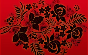 Wallpaper Red, Black, Style, Background, Khokhloma, madeinkipish, Ivan Ivanovich
