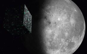 Picture space, the moon, space, moon, Star Trek, kosmos, Star trek, Borg Cube, Cube Borg, Borg, ...