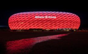 Picture Germany, Munich, backlight, stadium, Allianz Arena