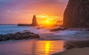 Picture sea, the sun, light, sunset, the ocean, rocks, shore, coast
