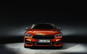 Wallpaper BMW, orange, 8-Series, coupe, Eight, 2018, background, Coupe, front view
