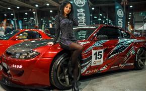 Picture machine, auto, girl, pose, dress, Dmitry Filatov