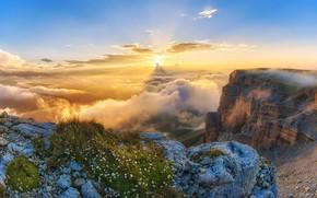 Picture clouds, landscape, sunset, mountains, nature, The Caucasus, Eugene Trisko