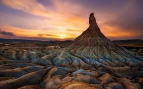 Picture sunset, rock, Spain, Navarre, Natural Park of Bardenas Reales, The Bardenas Castildetierra