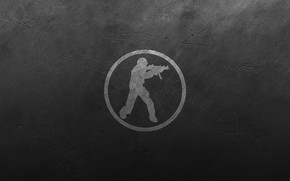 Picture metal, scratches, black background, contra, counter strike, counter strike